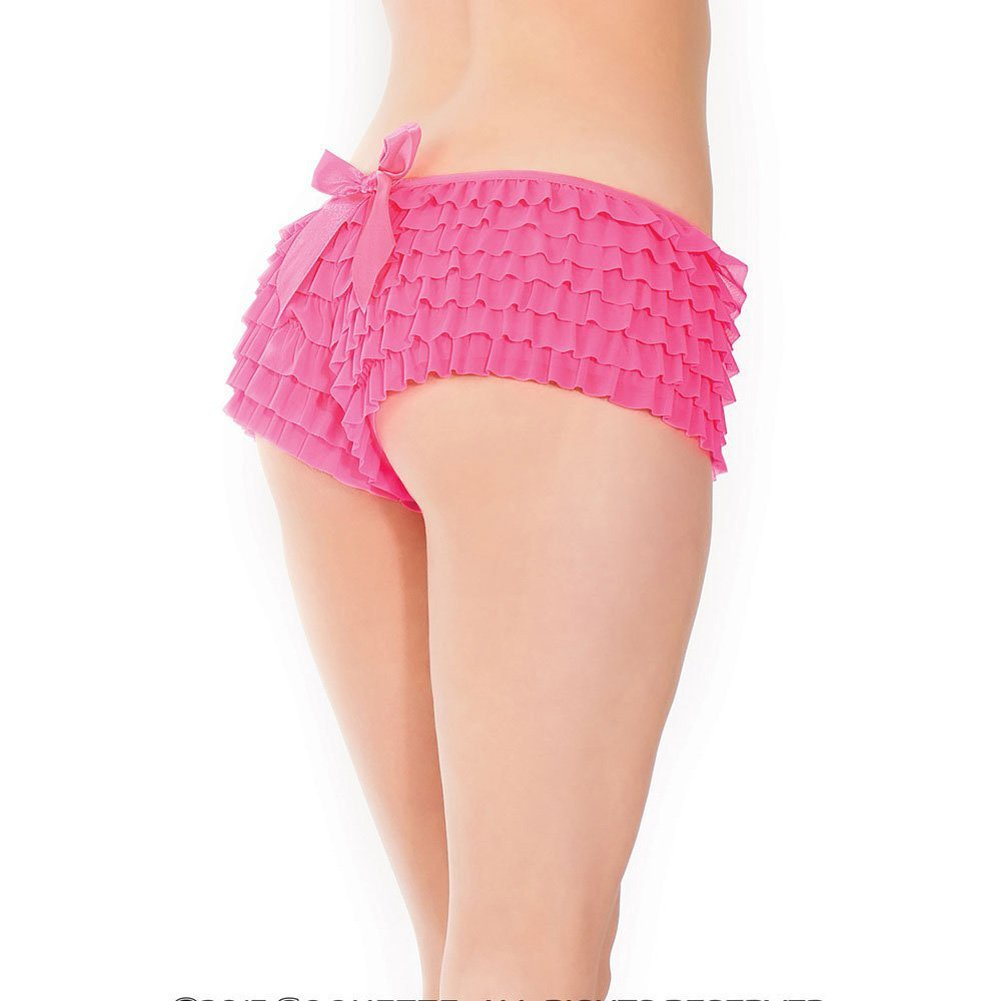 Coquette Lingerie Ruffle Shorts with Back Bow Detail Extra Large Neon Pink - View #3