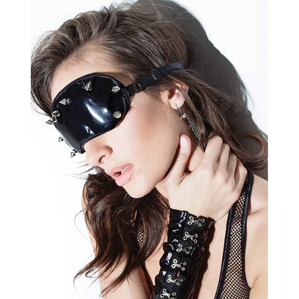 Padded PVC Mask with Spikes and Adjustable Band Black One Size - View #2