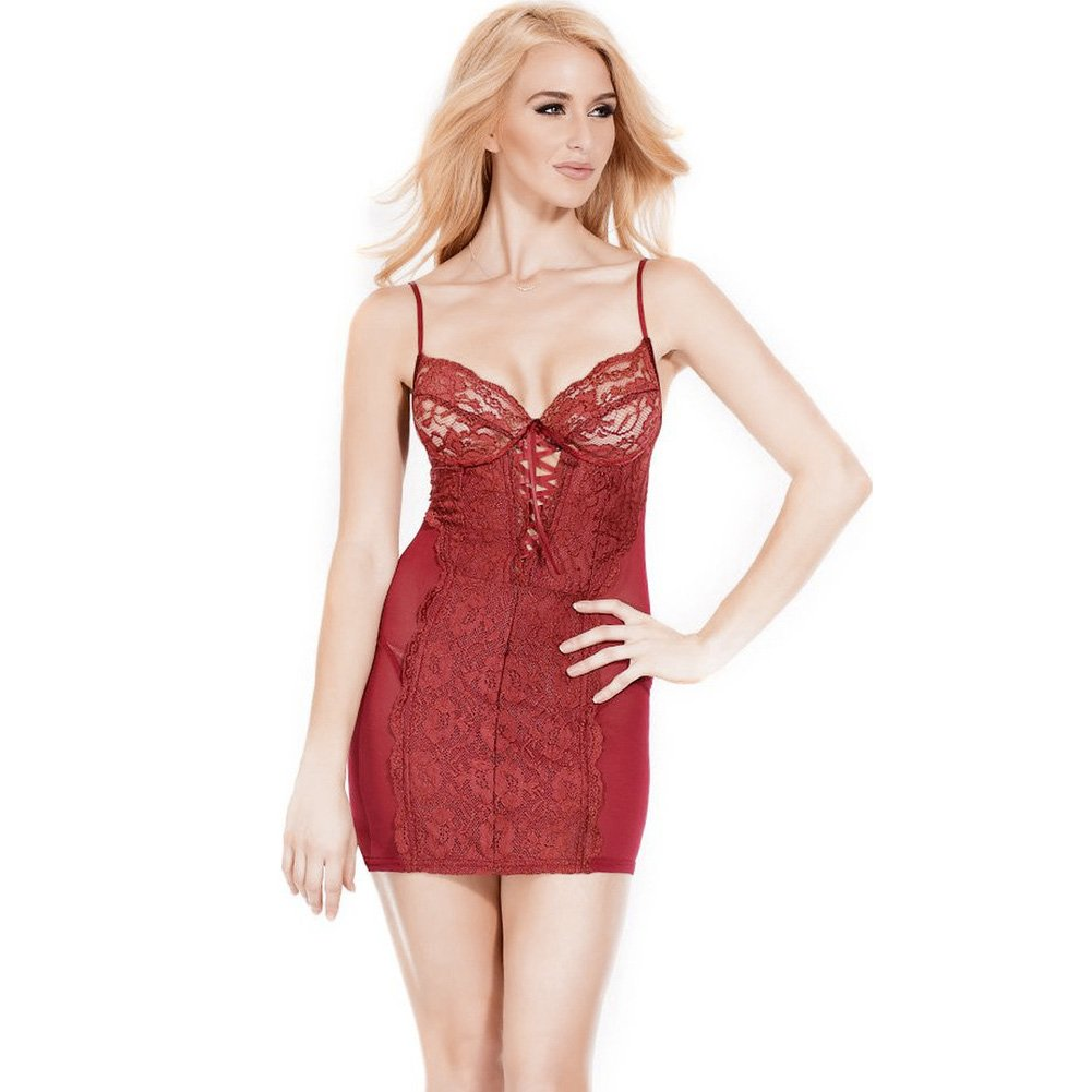 Powernet Chemise with Soft Lace and Underwire Cups Merlot Extra Large - View #1