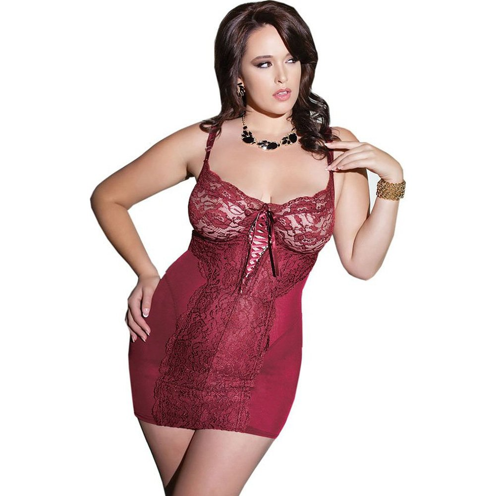Powernet Chemise with Soft Lace and Underwire Cups Merlot 3X 4X - View #1