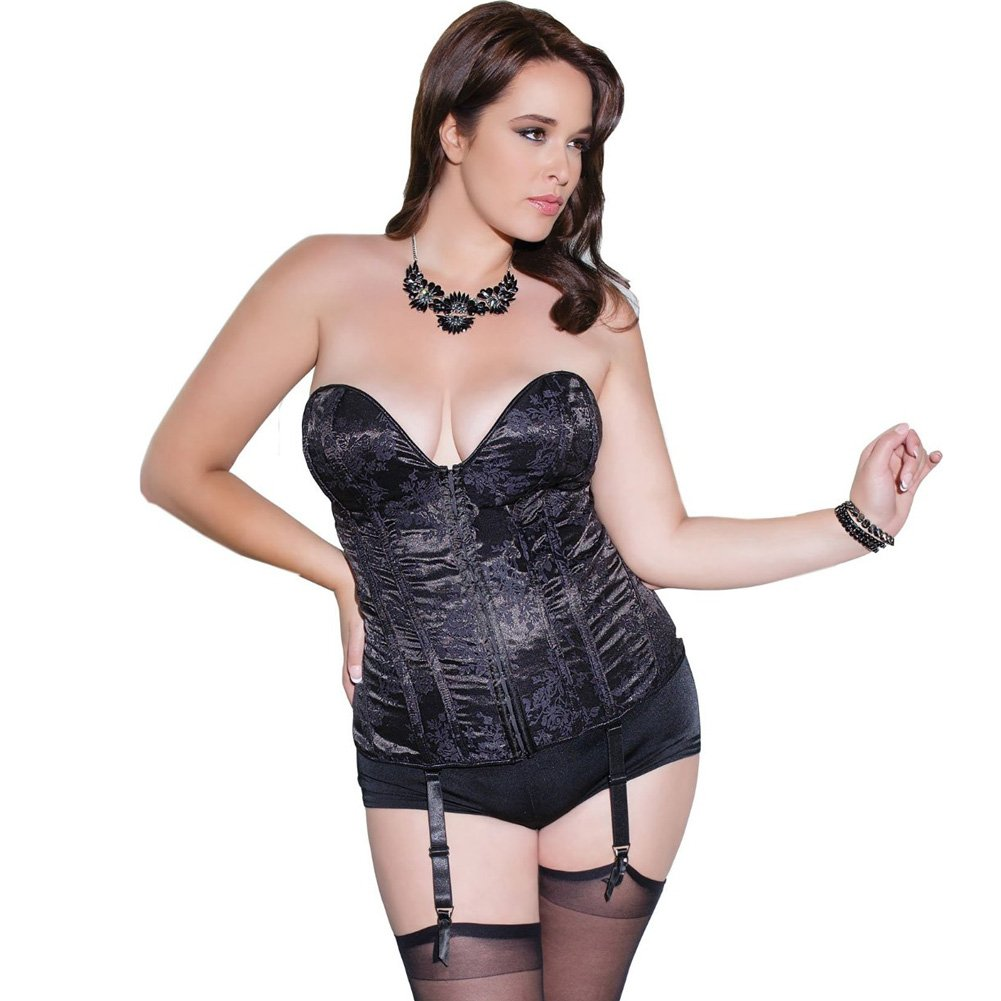 Fully Boned Deep V Neckline Corset with Removable Garters and Straps Black Plus Size 1X 2X - View #1