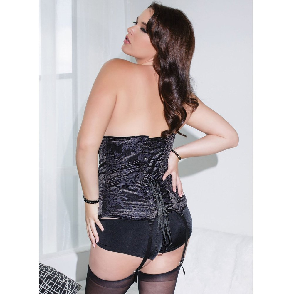 Fully Boned Deep V Neckline Corset with Removable Garters and Straps Black Plus Size 3X 4X - View #2