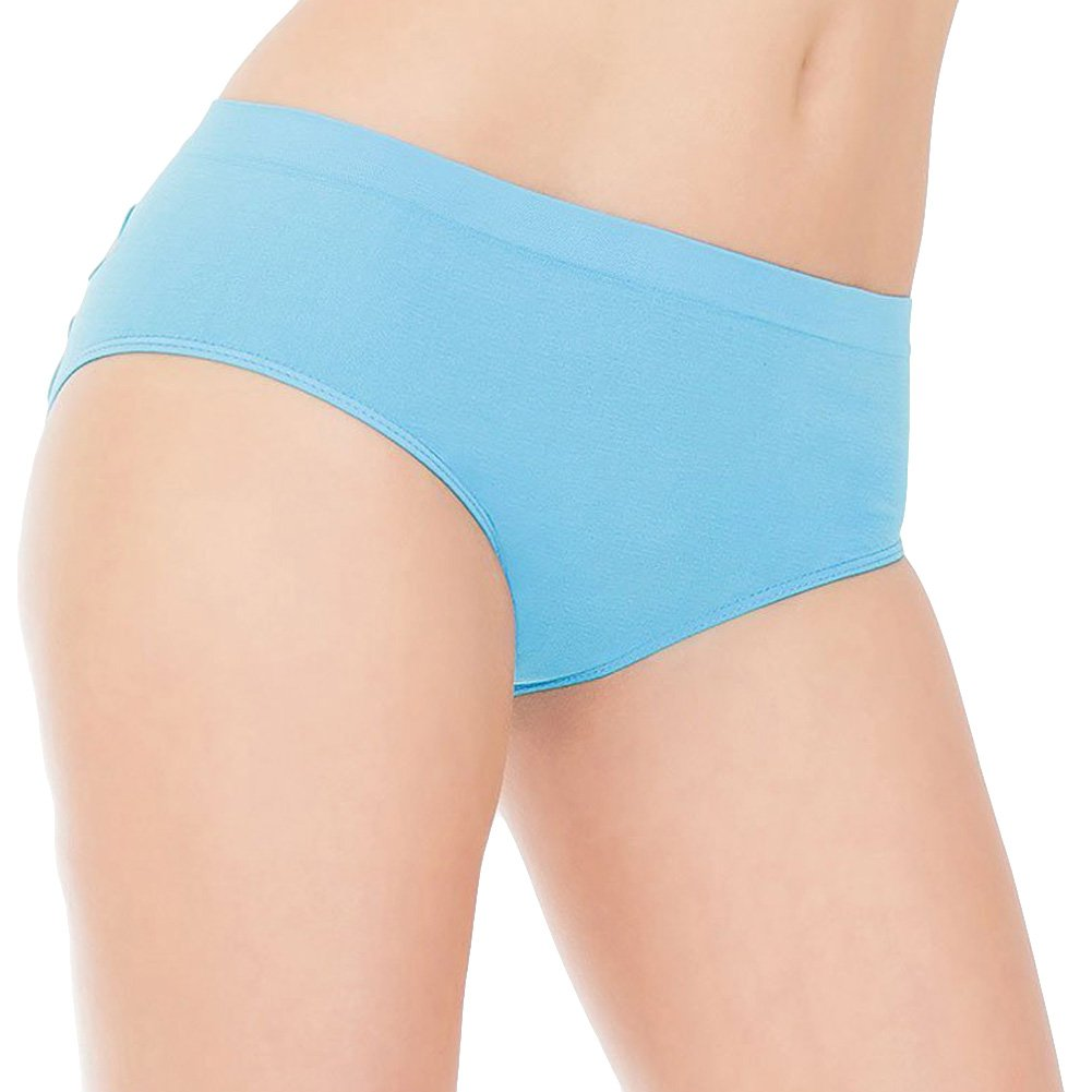 Stretch Knit Panty with Center Back Slashes Blue One Size - View #2
