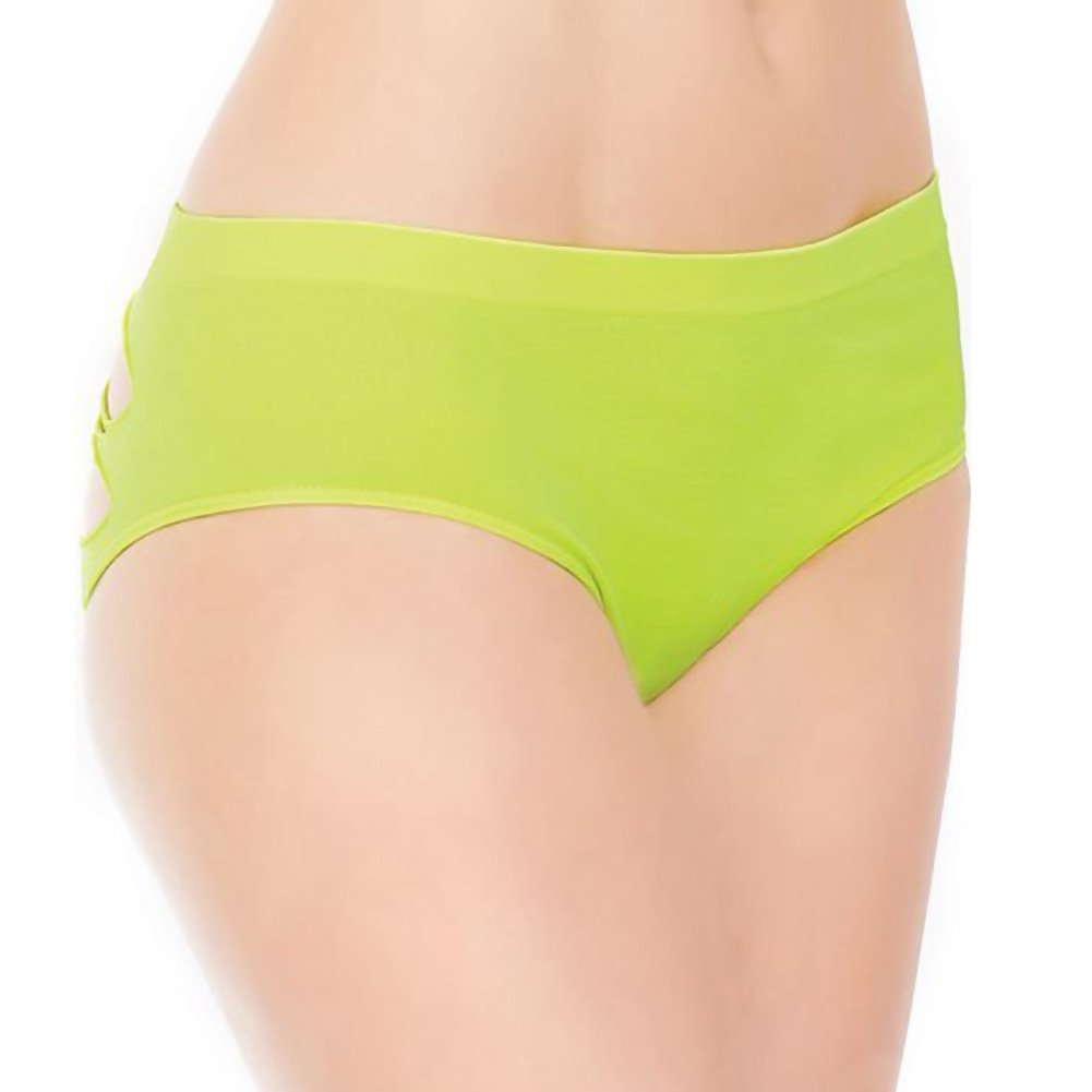 Stretch Knit Panty with Center Back Slashes Plus Size Yellow - View #2