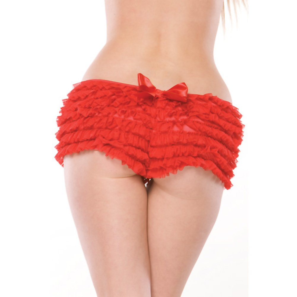 Ruffle Shorts with Back Bow Detail Red XXL - View #3