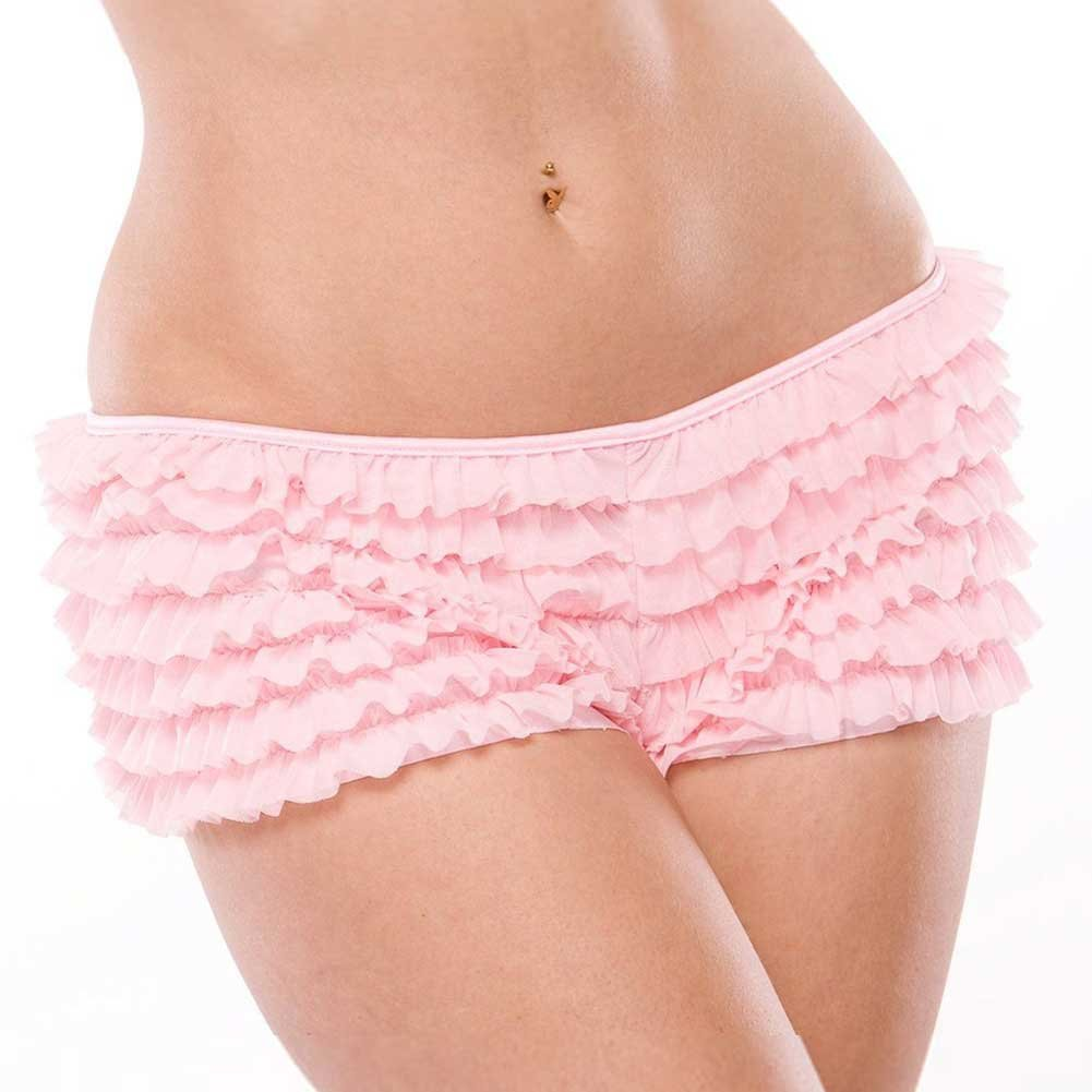 Ruffle Shorts with Back Bow Detail Pink XXL - View #2