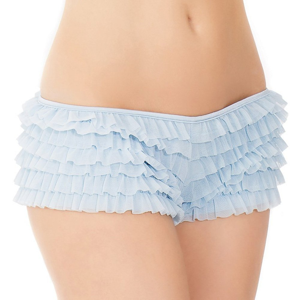 Coquette Lingerie Ruffle Shorts with Back Bow Detail XXL Blue - View #2