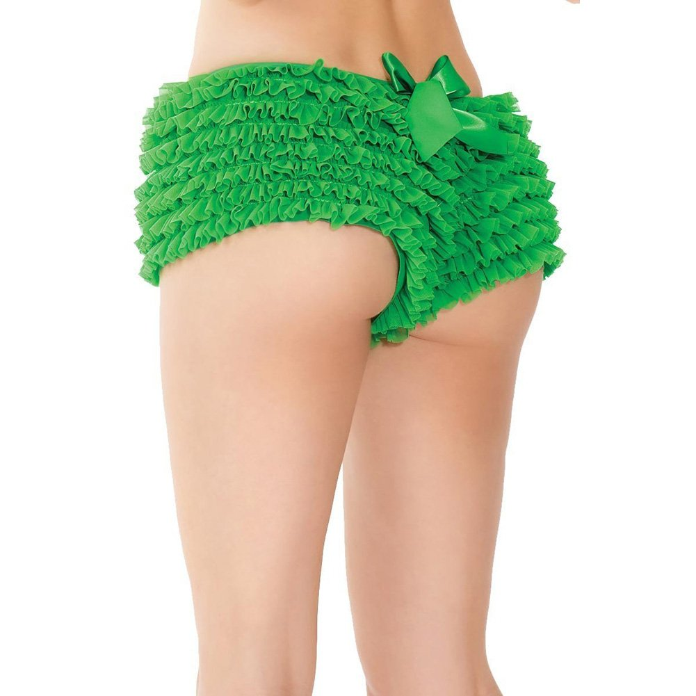 Ruffle Shorts with Back Bow Detail Green XXL - View #3