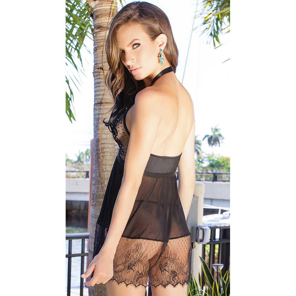 Scalloped Eyelash Lace and Mesh Halter Babydoll with G-String One Size Black - View #4