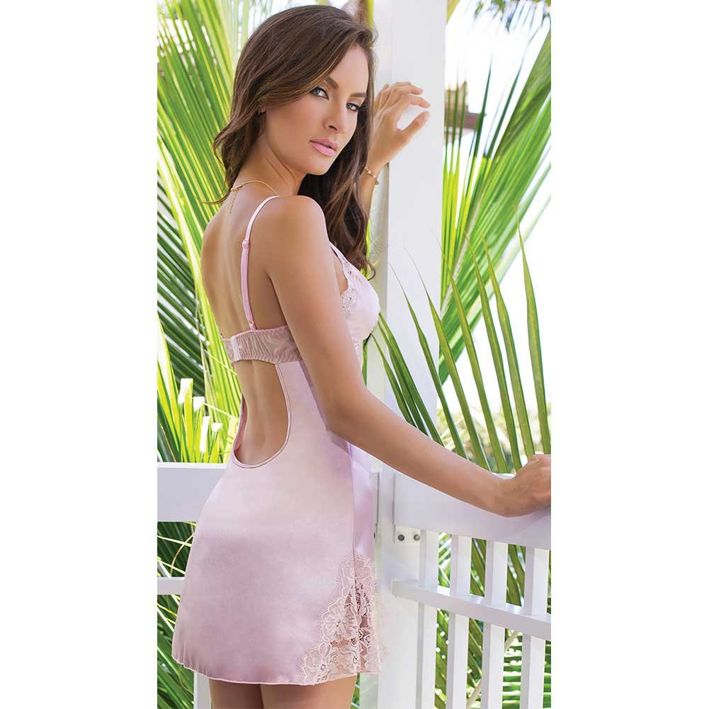 Satin and Powernet Triangle Cup Chemise with Adjustable Straps Dust Rose Medium - View #4