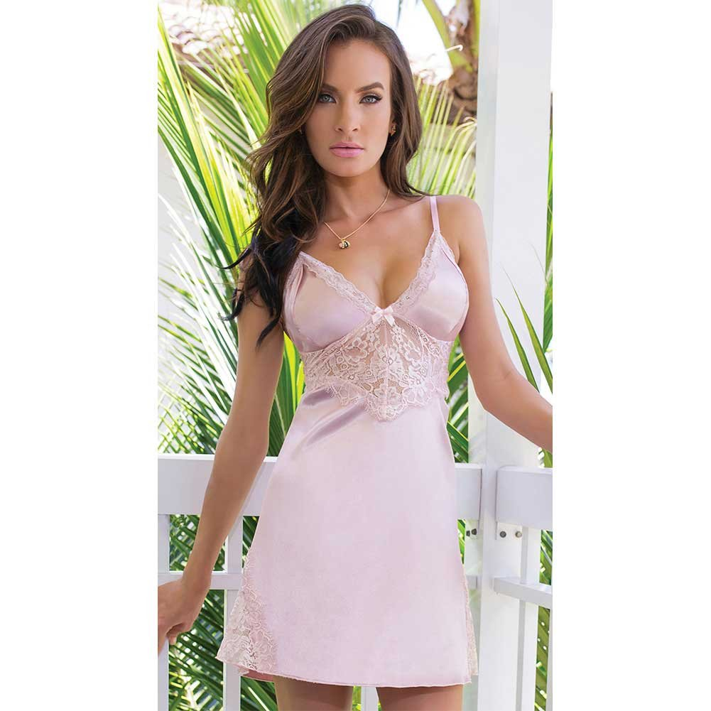 Satin and Powernet Triangle Cup Chemise with Adjustable Straps Dust Rose Extra Large - View #3