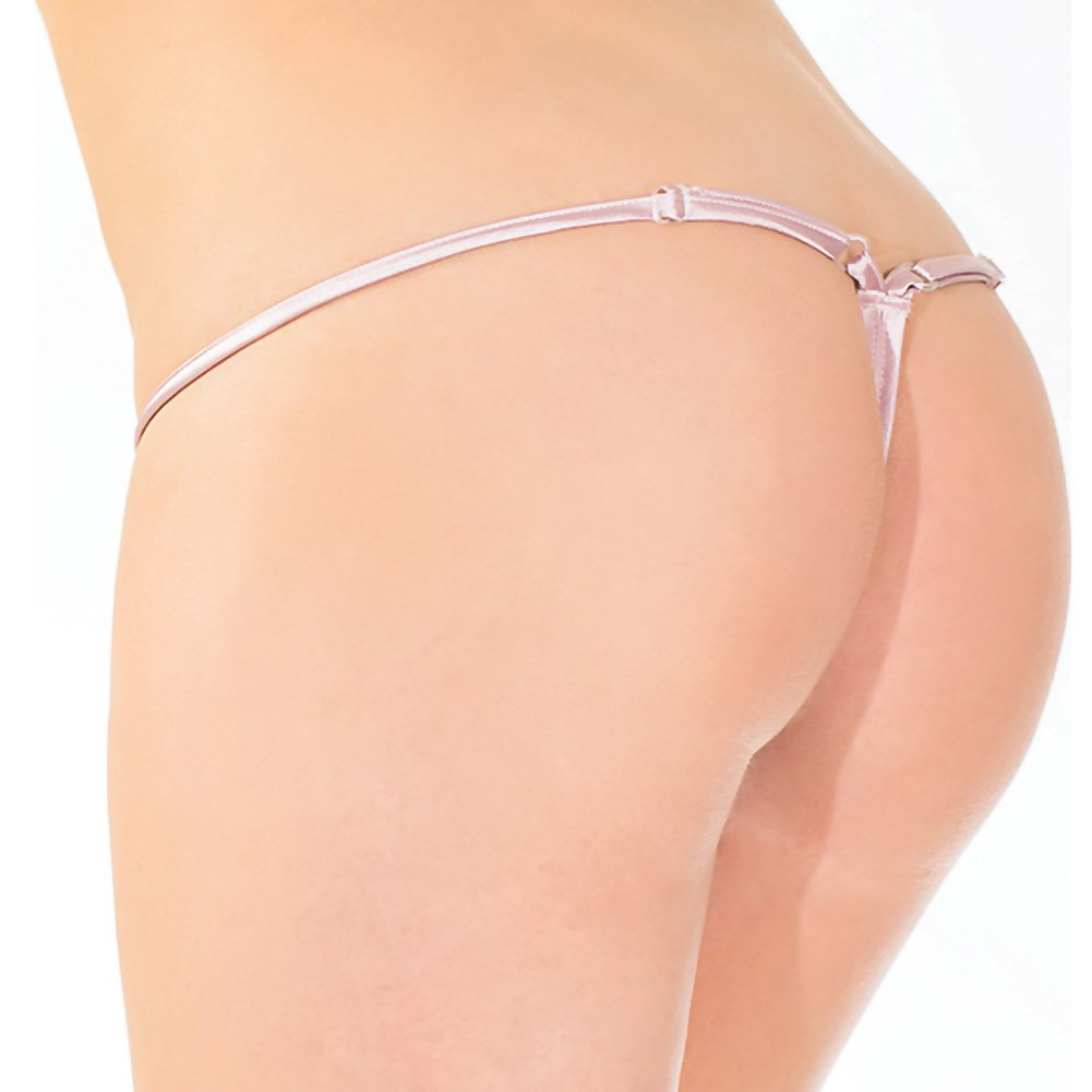Eyelash Lace and Satin Adjustable G-String Rose Dust One Size - View #2