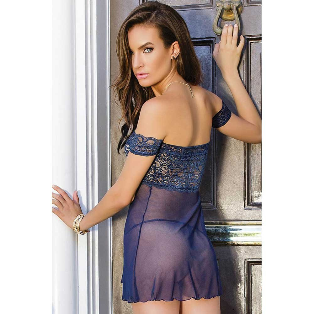 Mesh and Scalloped Stretch Lace Off Shoulder Babydoll and Babydoll Navy One Size - View #4