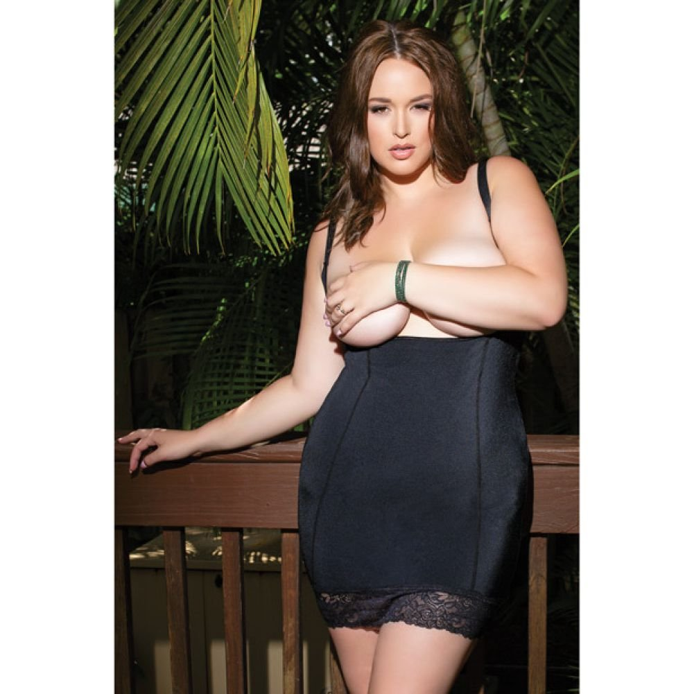 Stretch Knit Open Bust Chemise with Inner Powernet Panels for Shaping Black 3X 4X - View #3