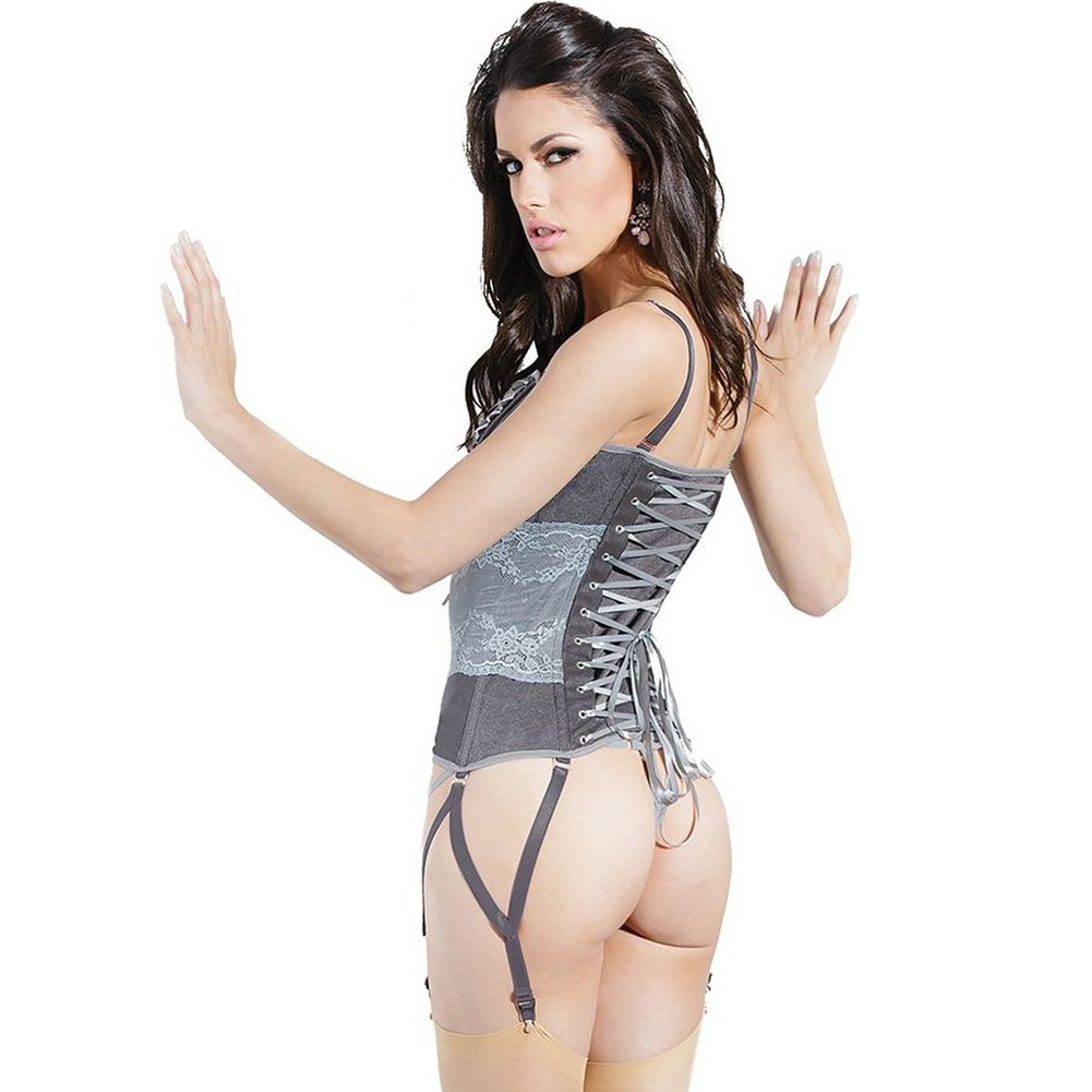 Spellbound Stretch Knit Corset with Removable Straps and Garters Dark Silver Silver Small - View #2