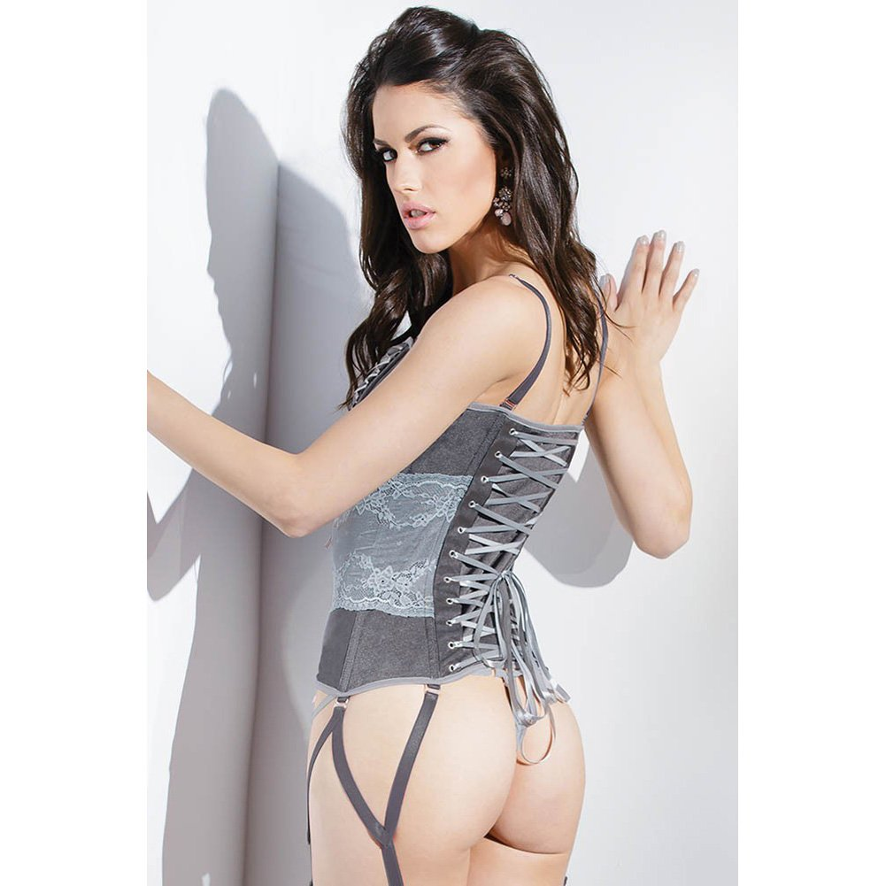 Spellbound Stretch Knit Corset with Removable Straps and Garters Dark Silver Silver Small - View #4