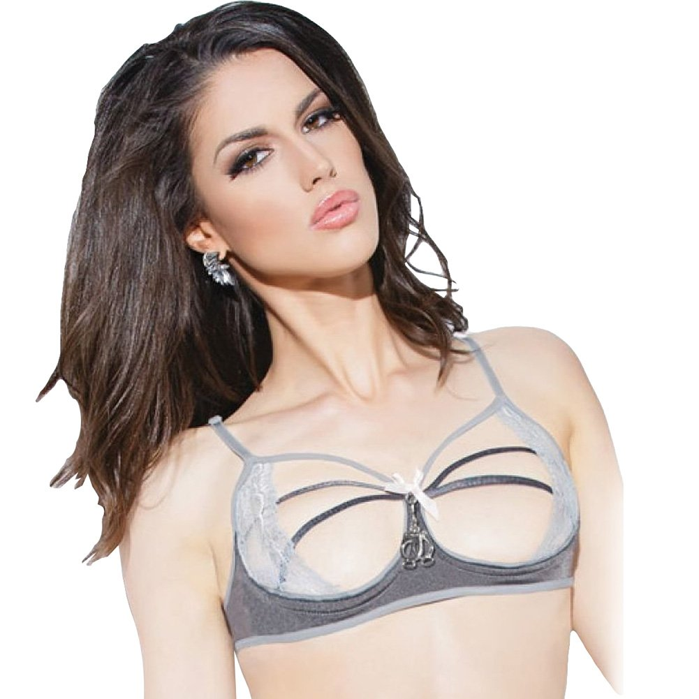 Spellbound Stretch Knit and Lace Cupless Bra with Mini Handcuff Charm Dark Silver/Silver Large - View #1