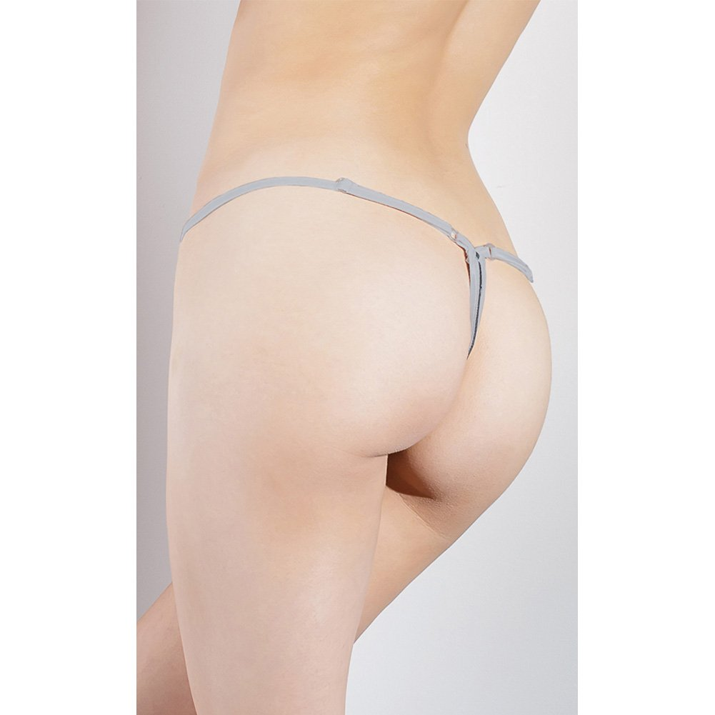 Spellbound Stretch Knit and Scalloped Stretch Lace Adjustable G-String Dark Silver Silver One Size - View #4