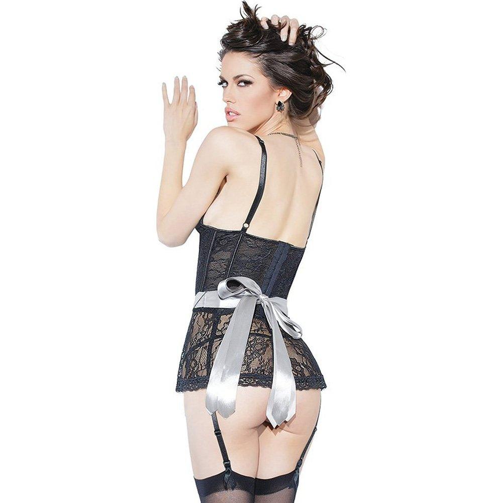 Spellbound Stretch Lace Peplum Corset with Removable Ribbon Belt and Garters Black Silver Small - View #2