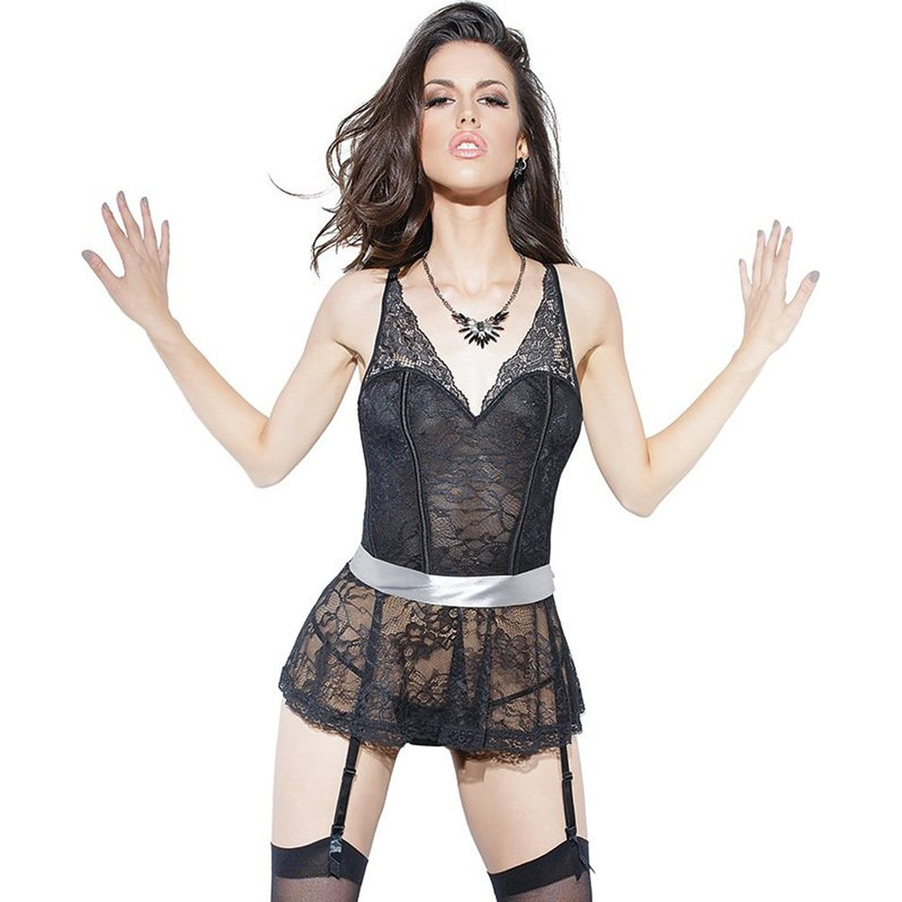 Spellbound Stretch Lace Peplum Corset with Removable Ribbon Belt and Garters Black Silver Medium - View #1