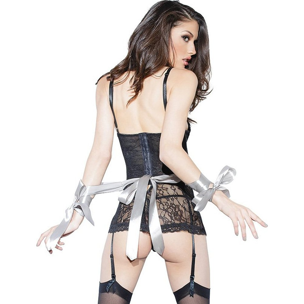Spellbound Stretch Lace Peplum Corset with Removable Ribbon Belt and Garters Black Silver Medium - View #3