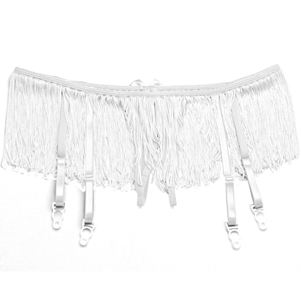 Flirty Fringe Open Front Gartini with Mesh Open Front Panty White One Size - View #2
