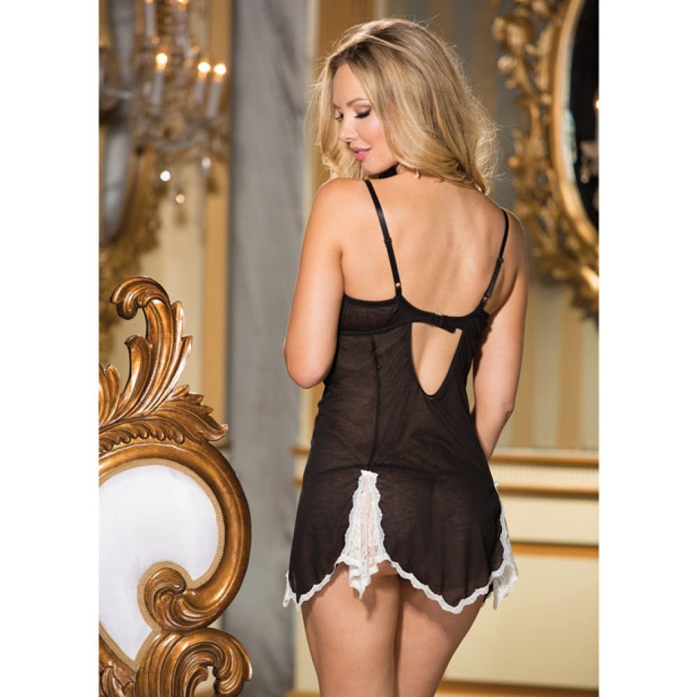 Super Soft Poly Rayon Chemise and G-String Black Small - View #4
