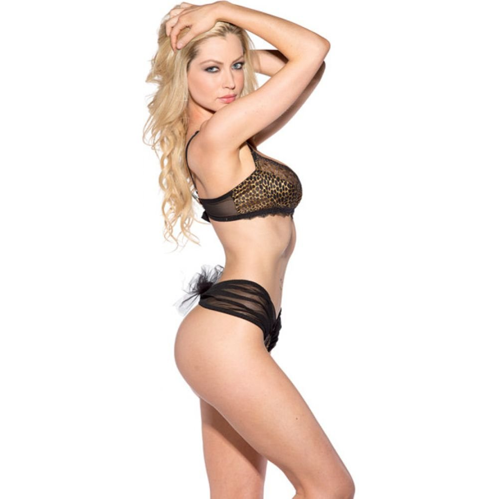 Lace Trim Bra and Sheer Boyshort Leopard Small - View #2