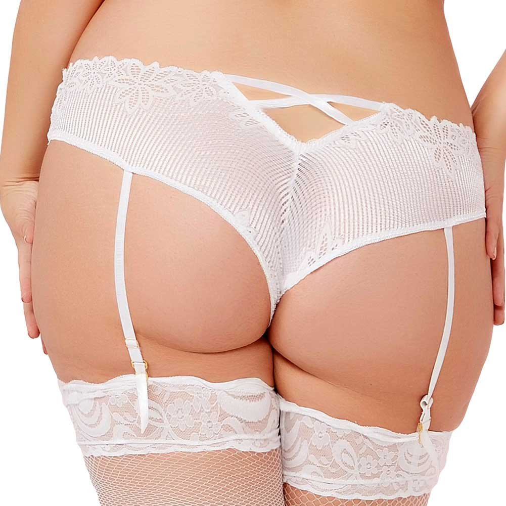 Seven Til Midnight Tropical Lace Panty with Removable Garters 1X/2X White - View #2