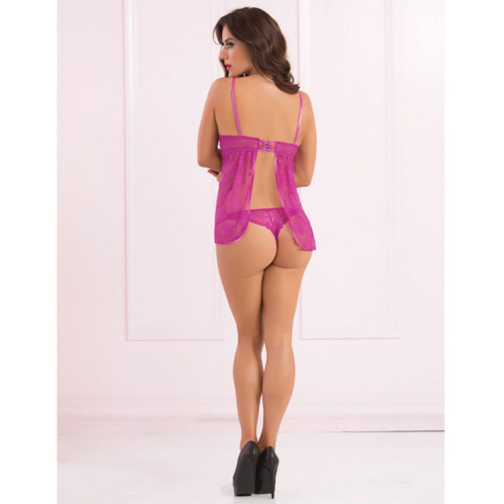 Lace Flyaway Back Babydoll Panty and Eye Mask Orchid One Size - View #4