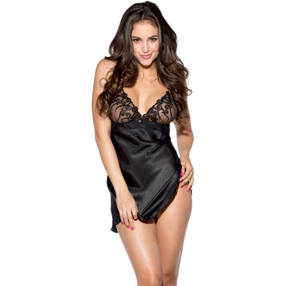 Satin Babydoll with Lace Cups Black Extra Large - View #1