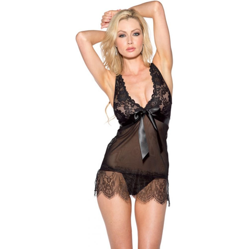 Mesh and Lace Chemise with Bow Black Extra Large - View #1