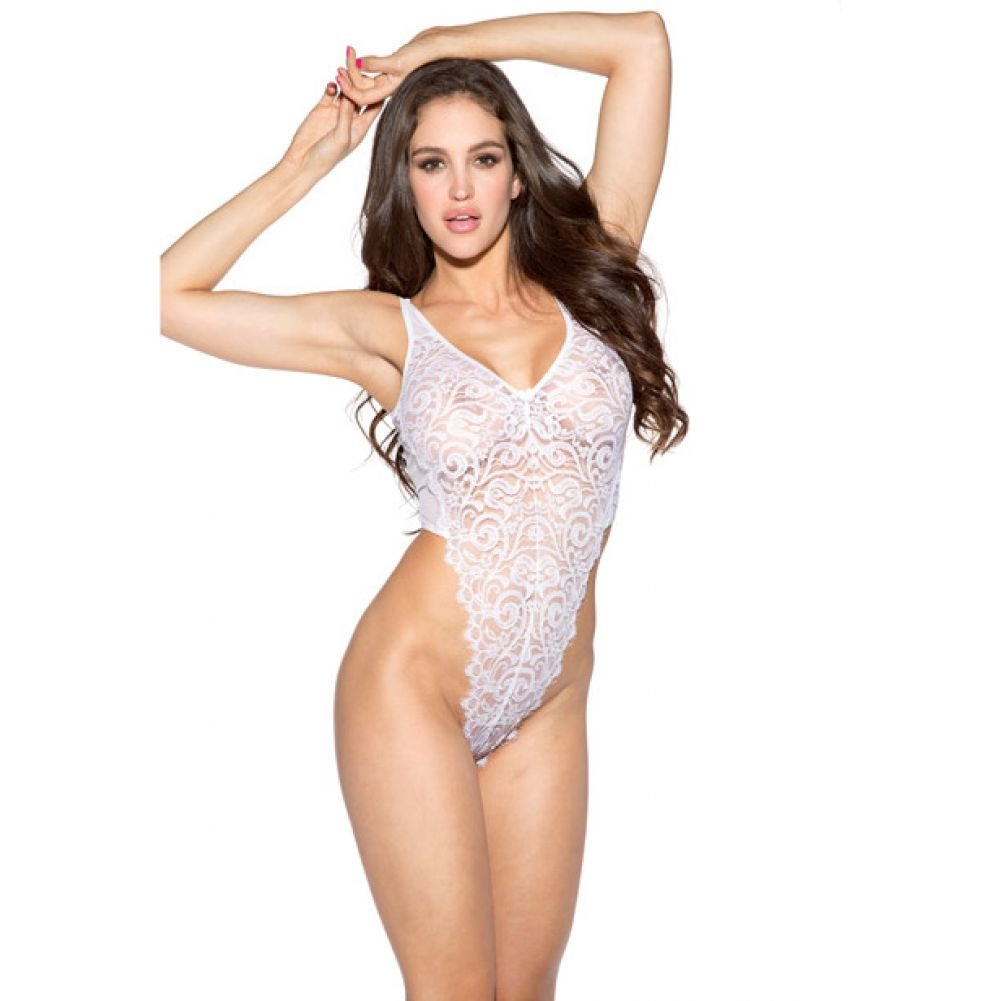 Lace and Mesh Teddy White 2X - View #1