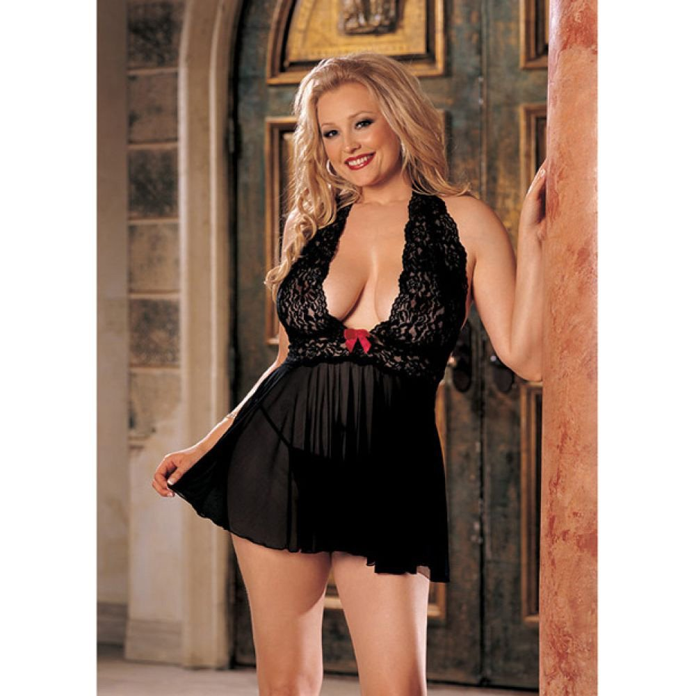 Sheer Halter Babydoll with Lace and Bow Black 3X 4X - View #2