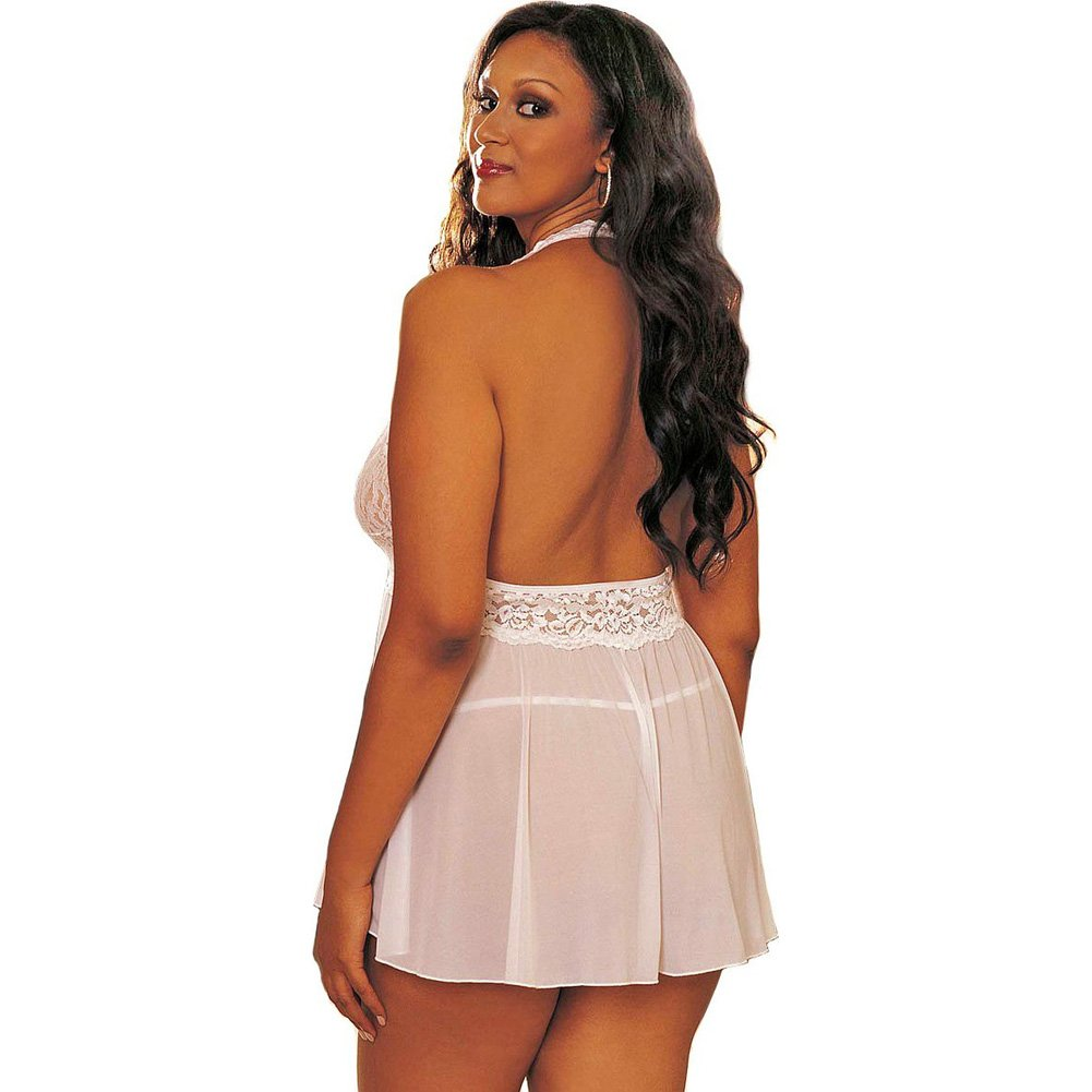 Sheer Halter Babydoll with Lace and Bow White 1X 2X - View #2