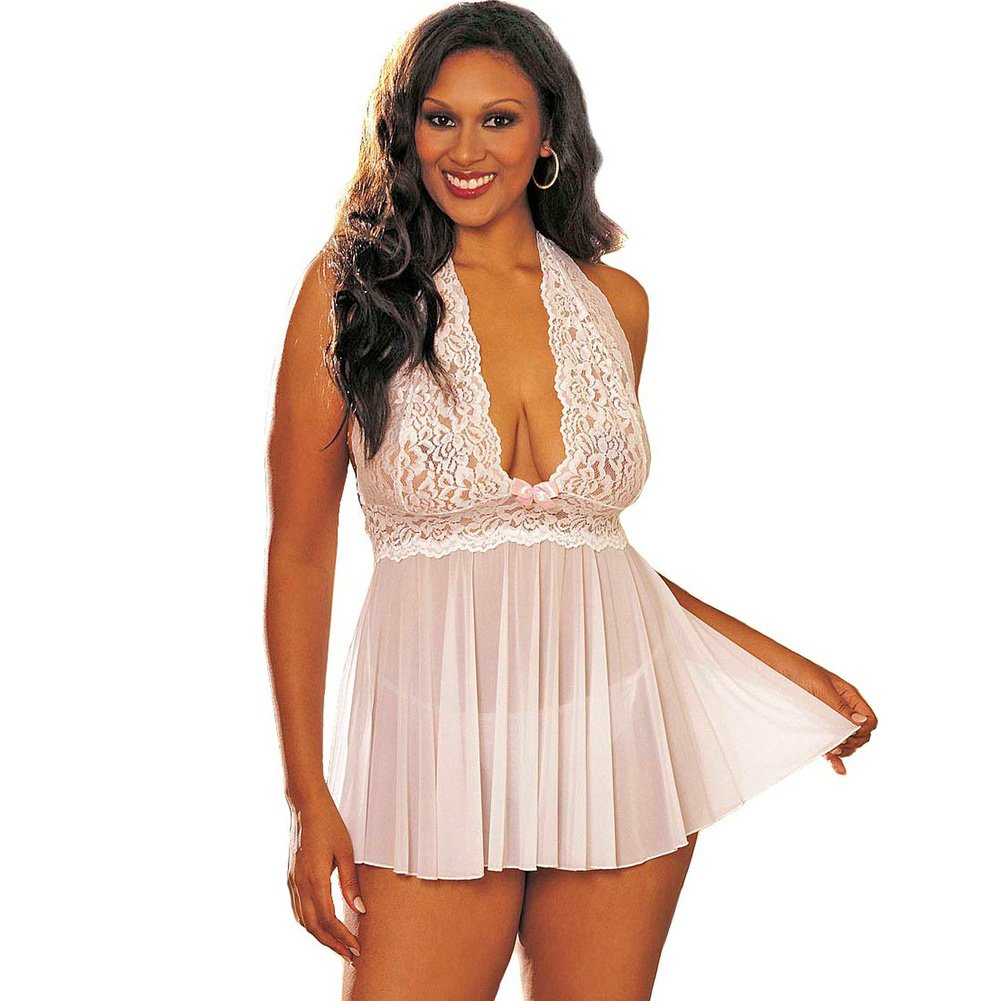 Sheer Halter Babydoll with Lace and Bow White 3X 4X - View #1