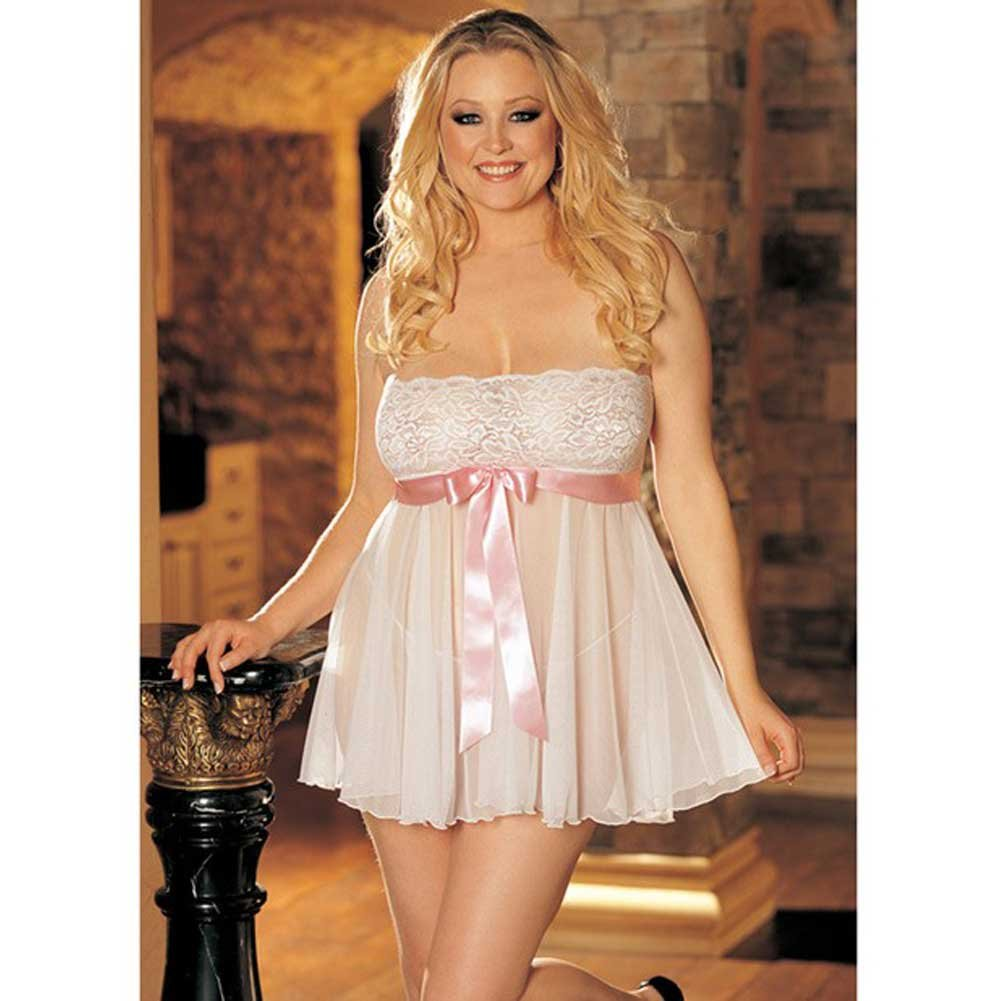 Sheer Strapless Babydoll with Lace and Bow White 1X 2X - View #2