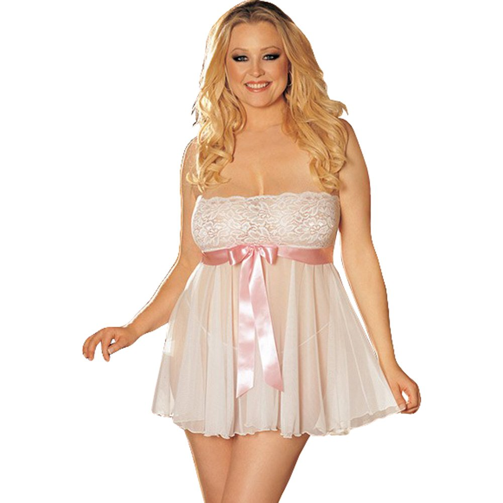 Sheer Strapless Babydoll with Lace and Bow White 3X 4X - View #1