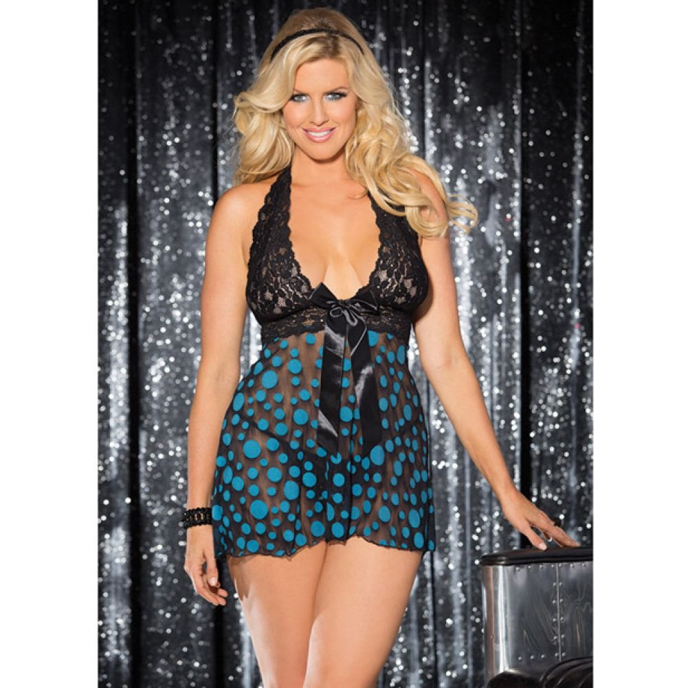 Sheer and Lace Babydoll with Bow and Polka Dots Turquoise Black 3X 4X - View #3