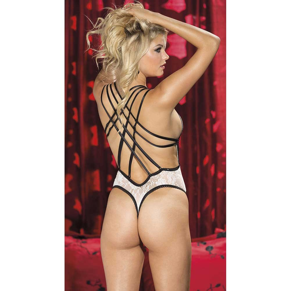 Stretch Lace Thong Teddy Ivory Black Extra Large - View #2