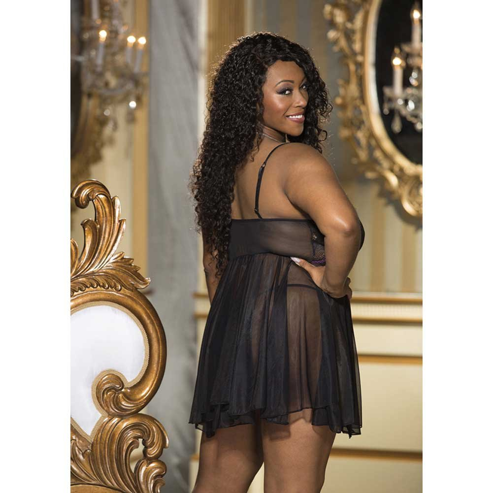 Stretch Lace and Glisenette Babydoll with G-String Black Pink 1X - View #2