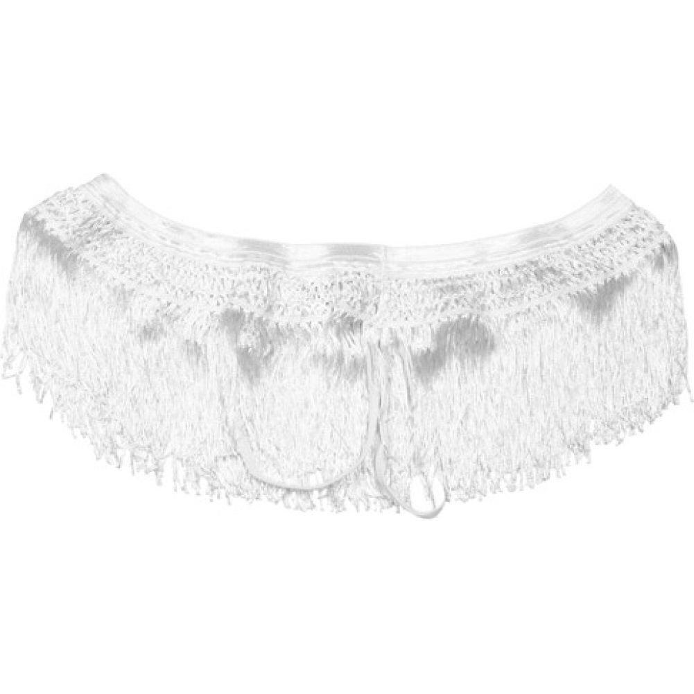 Crochet Waistband and Frisky Fring Open Front Panty White Small Medium - View #1