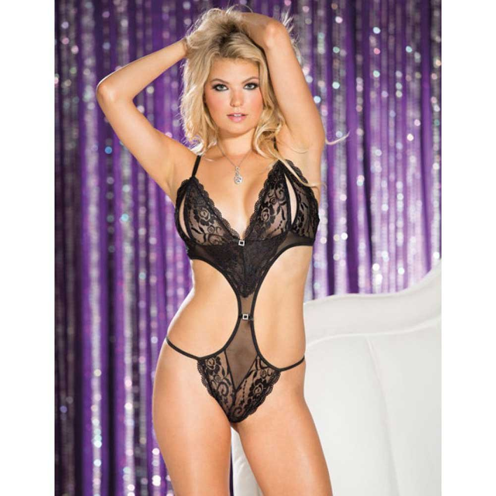 Stretch Lace and Mesh Open Bust Teddy Black Medium - View #3