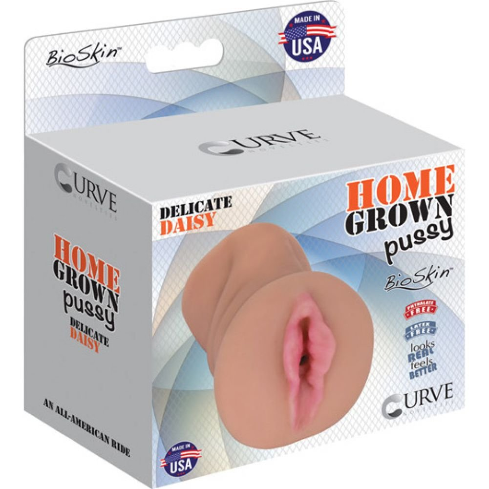 Curve Novelties Home Grown Pussy Bioskin Male Masturbator Delicate Daisy Latte - View #1