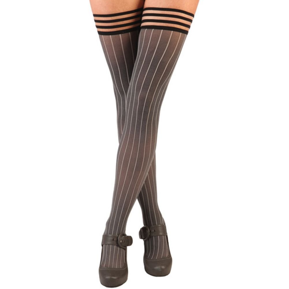 KixIes Annabelle Pinstripe Thigh High Tights Size C Grey - View #1