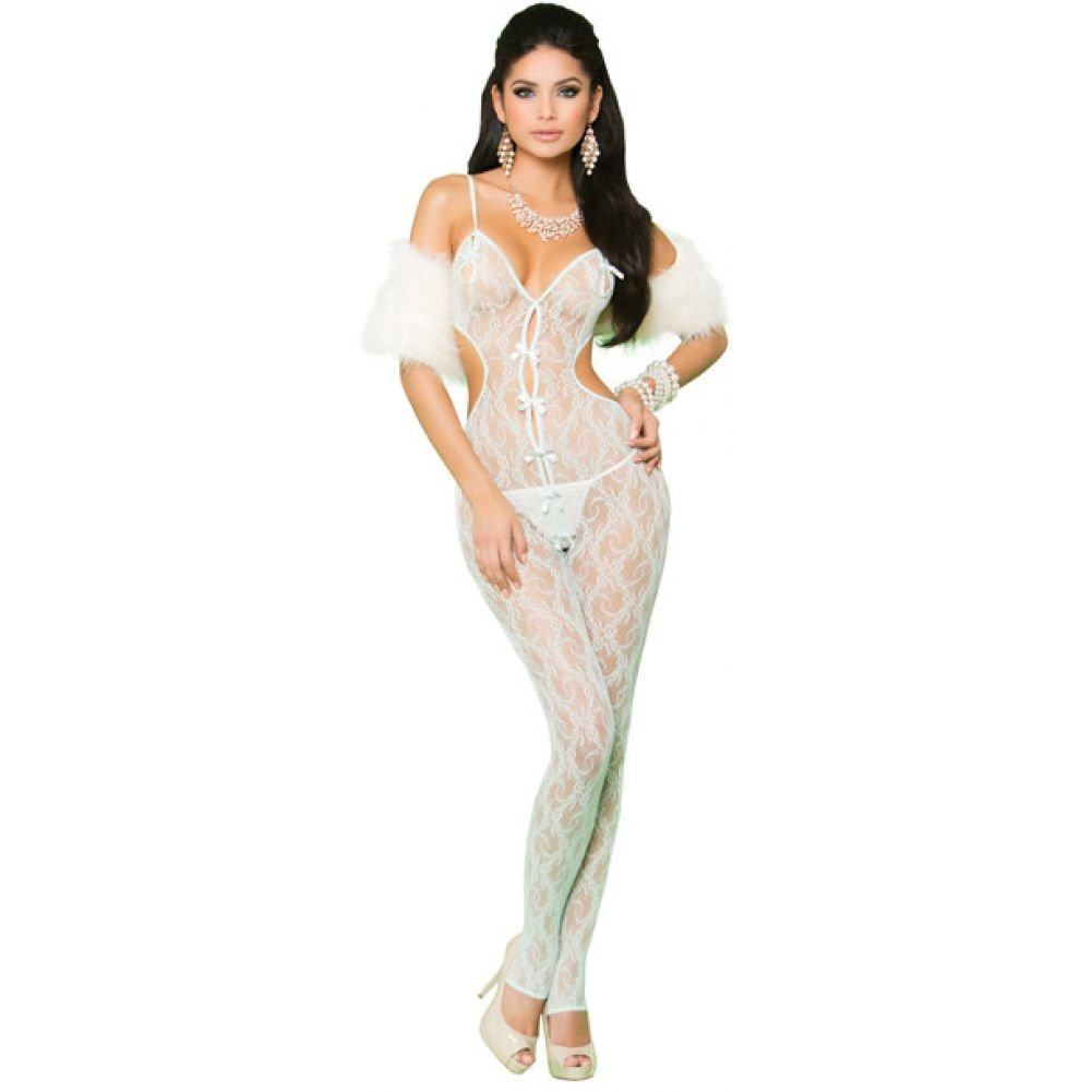 Vivace Lace Bodystocking with Open Crotch and Satin Bow Detail Mint Green One Size - View #1