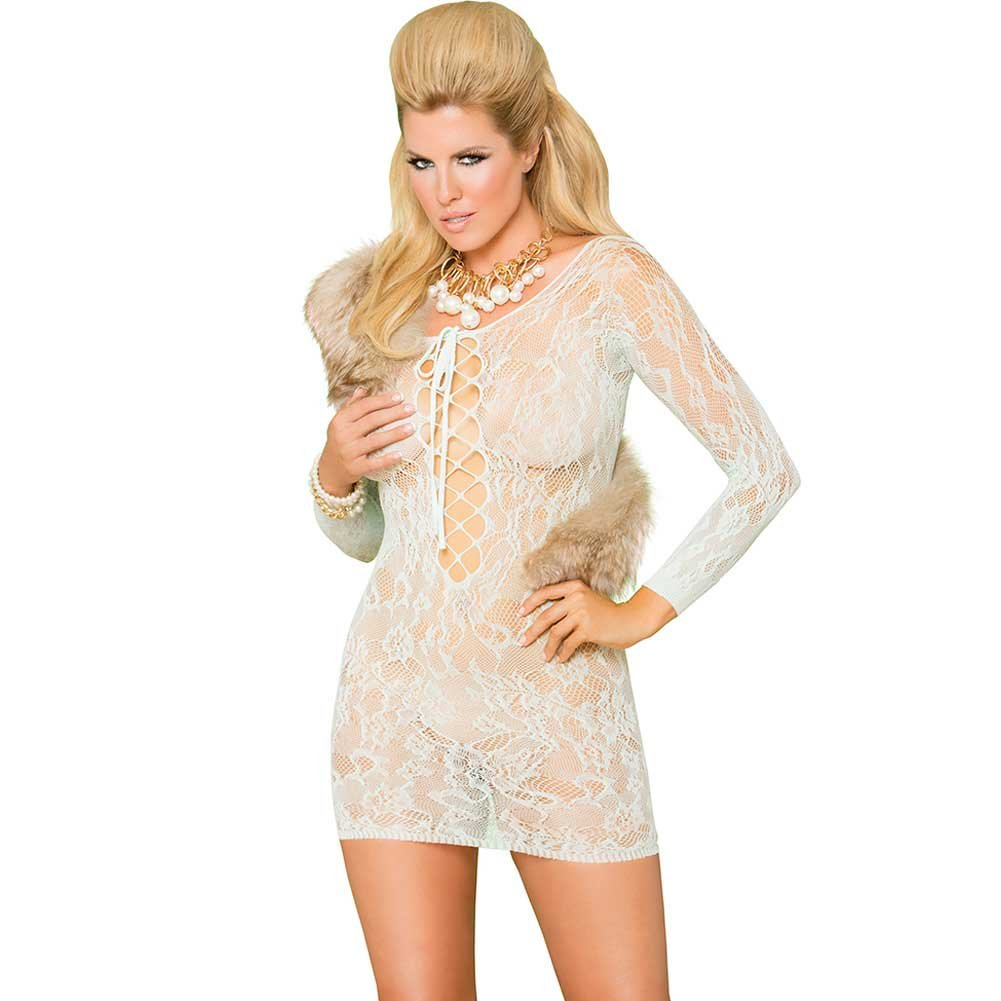 Vivace Long Sleeve Lace Mini Dress with Lace Up Front Mint Green Queen - View #1