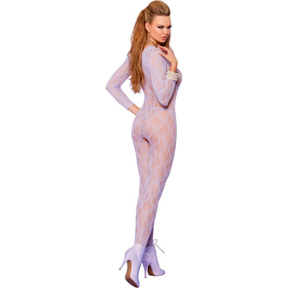 Vivace Long Sleeve Lace Bodystocking with Open Crotch Lilac One Size - View #2
