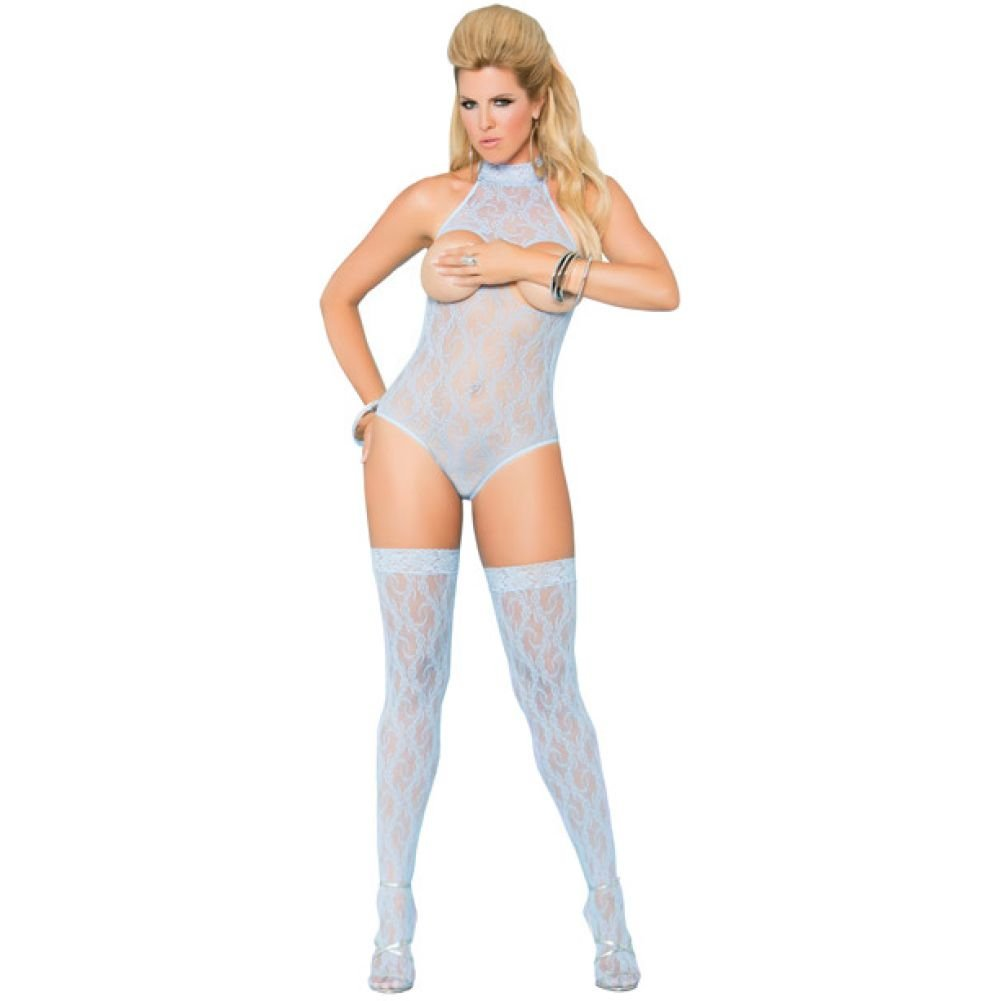 Vivace Cupless Lace Teddy with Stockings Baby Blue Queen - View #1