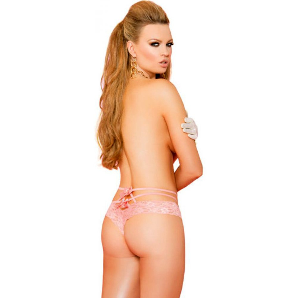 Vivace Lace Panty with Double Straps and Satin Bows Coral One Size - View #2